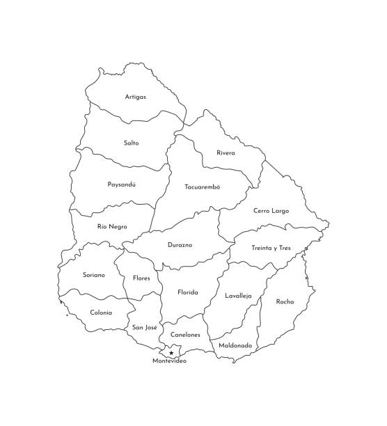 Vector isolated illustration of simplified administrative map of Uruguay. Borders and names of the departments (regions). Black line silhouettes Vector isolated illustration of simplified administrative map of Uruguay. Borders and names of the departments (regions). Black line silhouettes. canelones stock illustrations