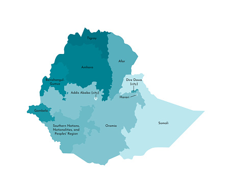 Vector isolated illustration of simplified administrative map of Ethiopia. Borders and names of the regions. Colorful blue khaki silhouettes