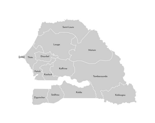 vector isolated illustration of simplified administrative map of senegal. borders and names of the regions. grey silhouettes. white outline - senegal stock illustrations