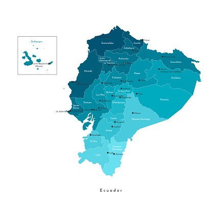 Vector isolated illustration. Simplified administrative map of Ecuador in blue colors. White background and outlines. Names of Ecuadorian big cities and provinces.