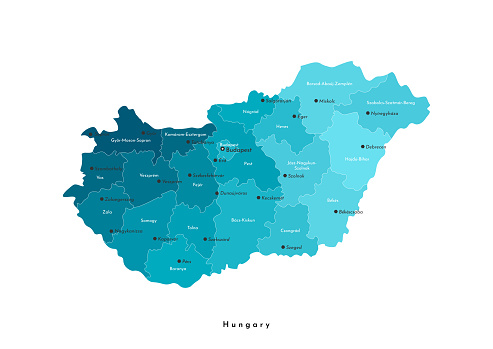 Vector isolated illustration. Simplified administrative map of Hungary (in blue colors). Names of hungarian cities and counties . White background