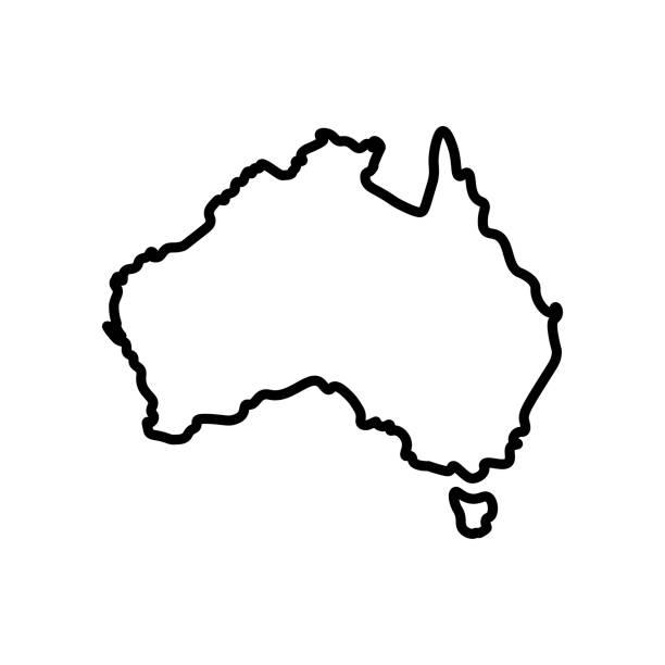 bildbanksillustrationer, clip art samt tecknat material och ikoner med vektor isolerade illustration förenklade ikonen med svart kontur av kontinenten australien - australia