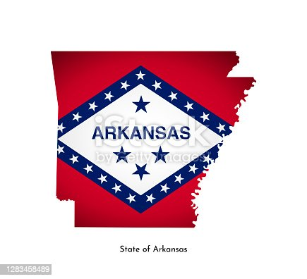 istock Vector isolated illustration with flag and simplified map of Arkansas (State of USA). Volume shadow on the map. White background 1283458489