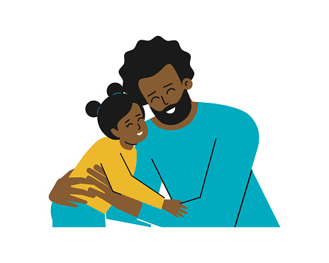 Vector isolated illustration with portrait of cartoon characters. African American young father hugs his little daughter. Daddy and baby girl are happy together, smiling