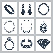 Vector isolated jewelry icons set