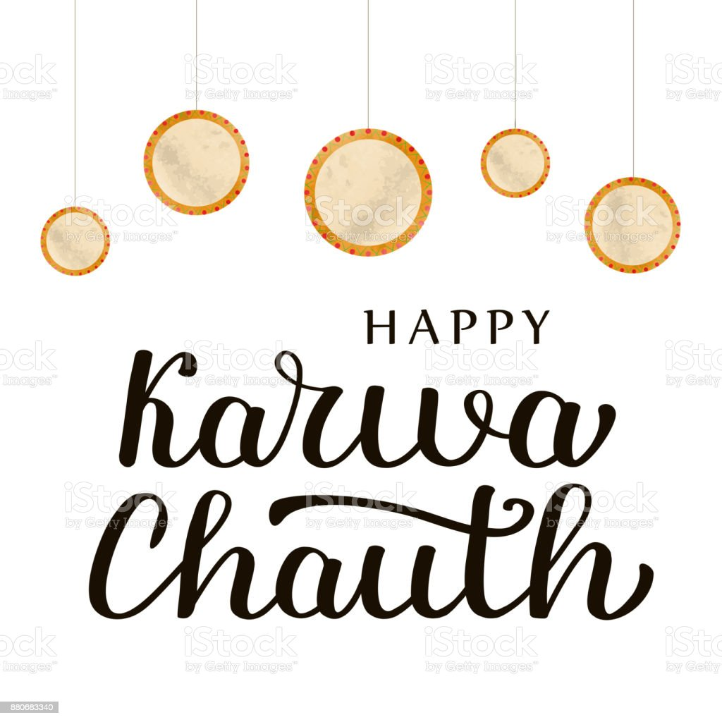 Vector isolated lettering for Happy Karwa Chauth for decoration and covering on the white background. vector art illustration