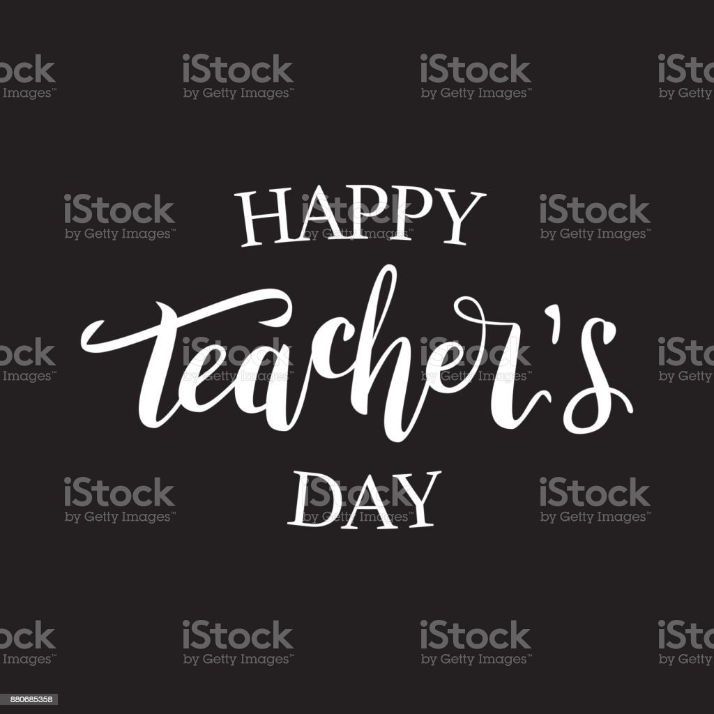Vector isolated lettering for Happy Teacher Day for decoration and covering on the dark background. vector art illustration