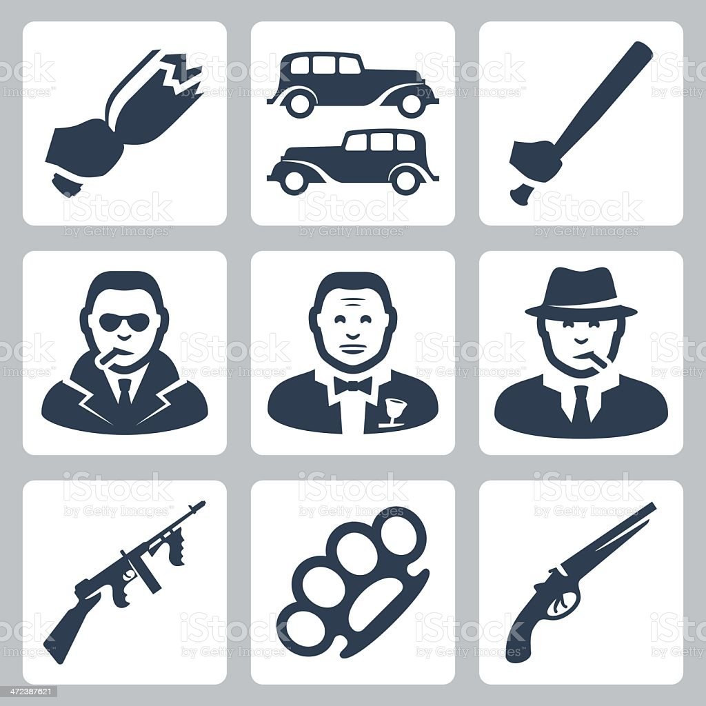 Vector isolated mafia icons set vector art illustration