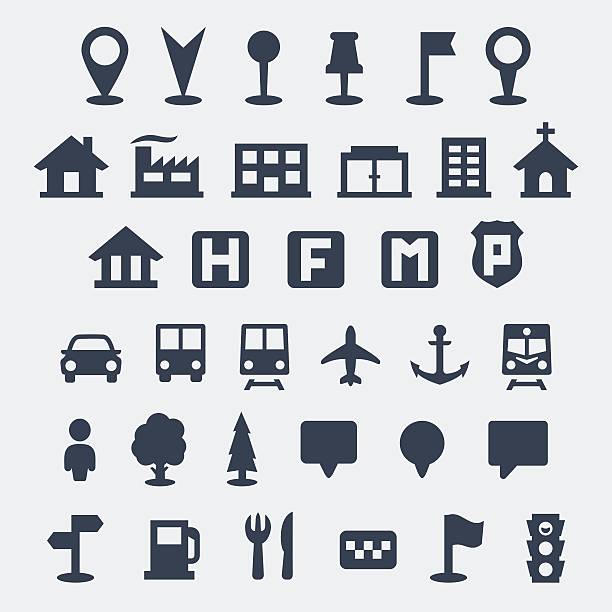 ilustraciones, imágenes clip art, dibujos animados e iconos de stock de mapa conjunto de iconos vector aislado - autobuses escolares