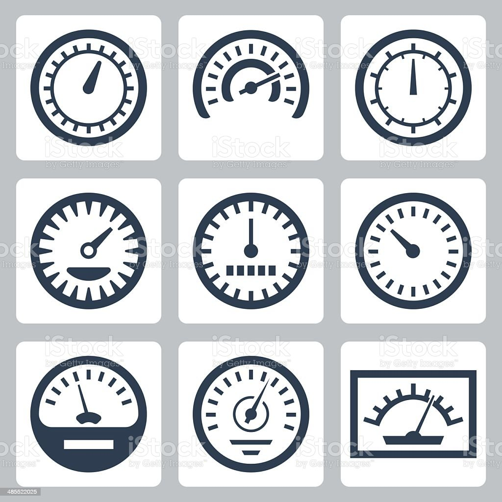 Vector isolated meters icons set vector art illustration