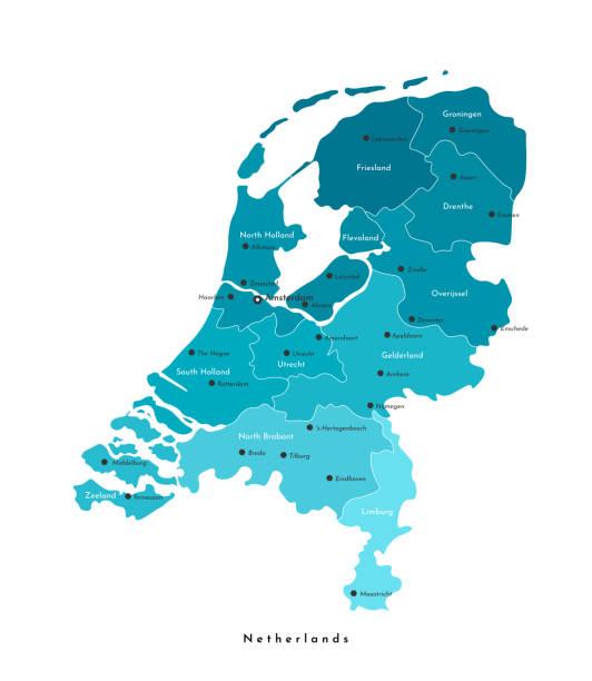stockillustraties, clipart, cartoons en iconen met vector geïsoleerde moderne illustratie. vereenvoudigde administratieve kaart van nederland in blauwe kleuren. namen van de steden en provincies. witte achtergrond - den haag