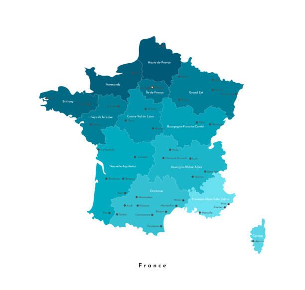 wektor izolowane nowoczesna ilustracja. uproszczona mapa geograficzna francji (region kontynentalny). niebieski kształt, whie tło. nazwy dużych francuskich miast i regionów - francja stock illustrations