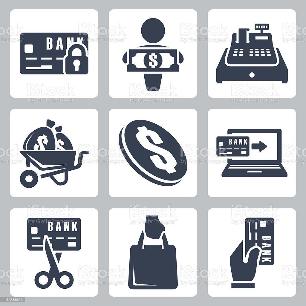 Vector isolated money icons set vector art illustration