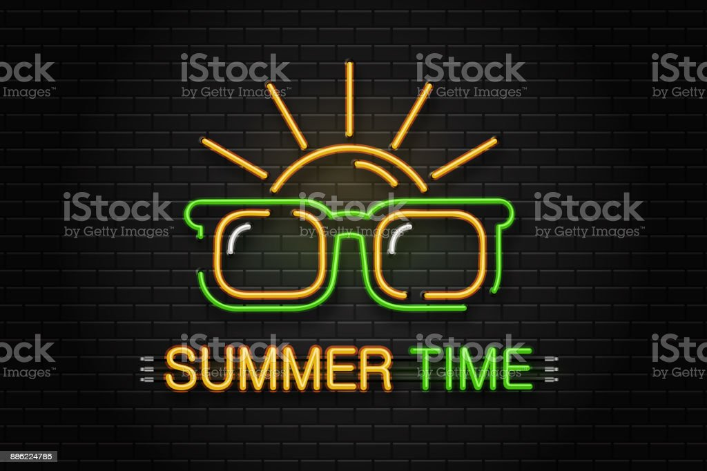 Vector isolated neon sign of glasses and sun for decoration on the wall background. Realistic neon logo for summer time. Concept of happy vacation and leisure. vector art illustration