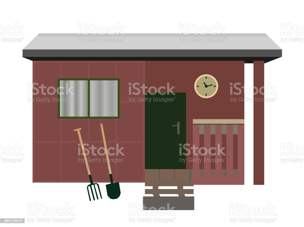 Vector isolated old garden shed vector art illustration