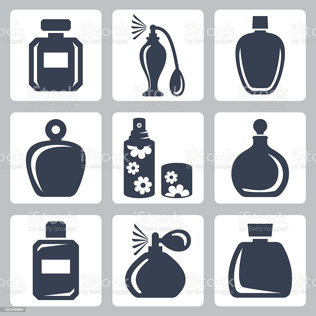 Vetor isolado frascos de perfume Conjunto de ícones - ilustração de arte em vetor