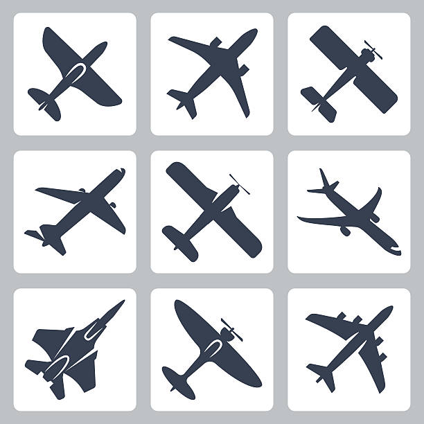 Vector isolated plane icons set Vector isolated plane icons set private airplane stock illustrations