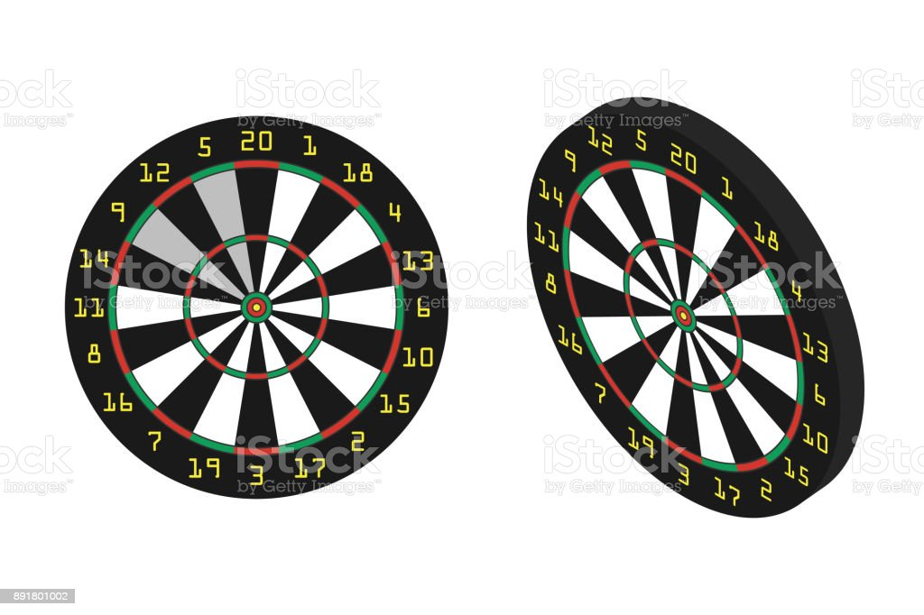 Vector isolated realistic dart boards on the white background. Concept of sport, recreation and leisure. vector art illustration