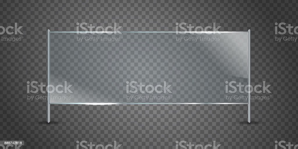 Vector isolated realistic glass billboard on the transparent background for decoration and covering. vector art illustration