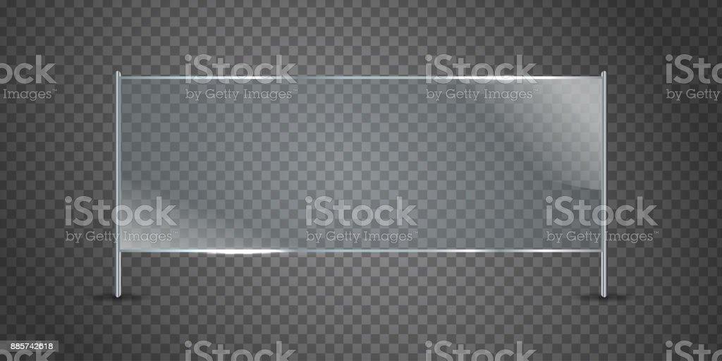 Cartelera de vidrio realista vector aislado en el fondo transparente para decoración y revestimiento. - ilustración de arte vectorial