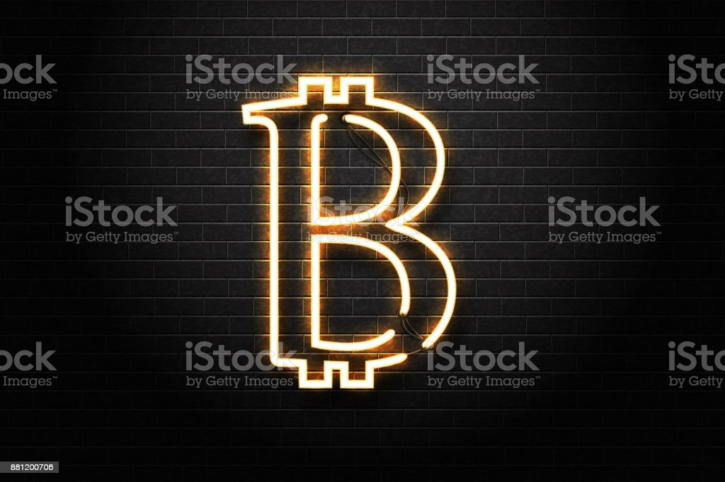 Vector isolated realistic neon sign of Bitcoin on the wall background. Concept of digital currency, mining and money. vector art illustration