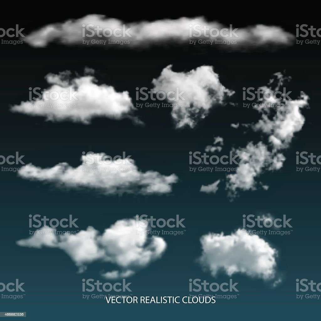 Vector Isolated realistic transparent clouds. vector art illustration