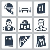 Vector isolated restaurant icons set