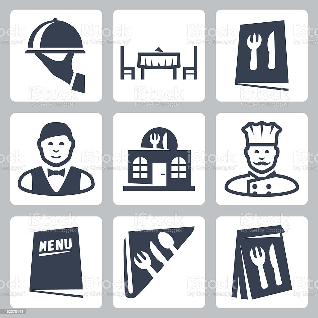 Vector isolated restaurant icons set vector art illustration