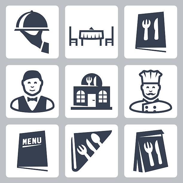 illustrazioni stock, clip art, cartoni animati e icone di tendenza di vettoriale icone set isolato ristorante - mestiere nella ristorazione
