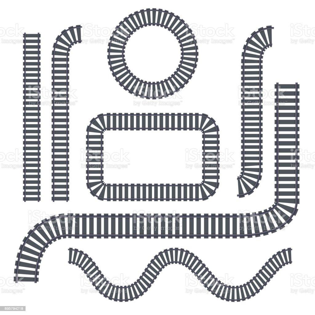 Vektor isoliert Set von Schienen auf dem weißen Hintergrund für die Dekoration. Konzept der Zugverbindungen, Metro, Logistik und Eisenbahn. – Vektorgrafik