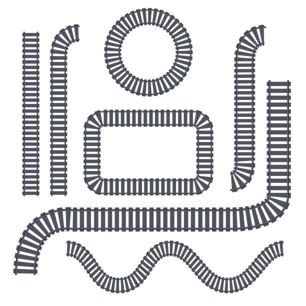 illustrations, cliparts, dessins animés et icônes de vector isolé ensemble de rails sur le fond blanc pour la décoration. concept de transport train, de métro, de logistique et de chemin de fer. - voie ferrée