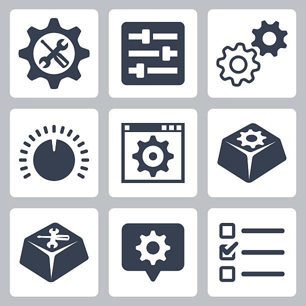 stockillustraties, clipart, cartoons en iconen met vector isolated settings icons set - op maat gemaakt