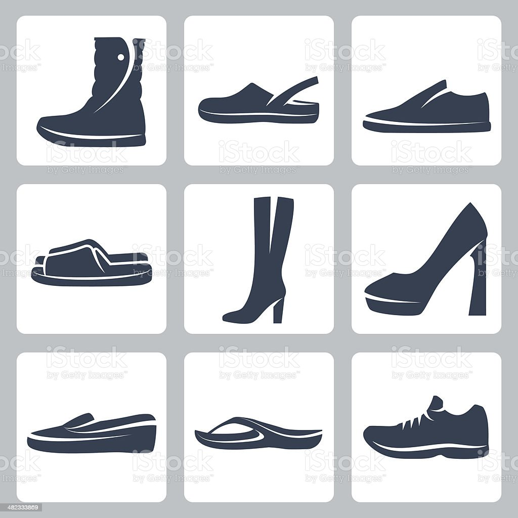 Vector isolated shoes icons set vector art illustration
