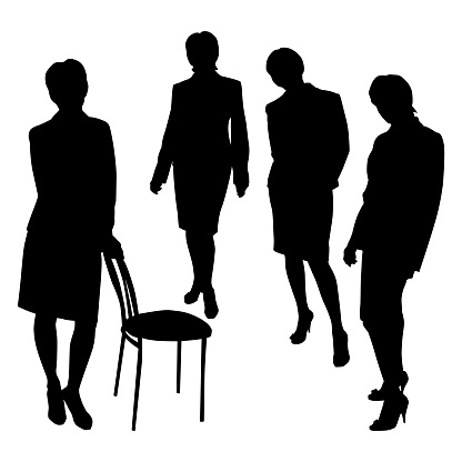 Vector isolated silhouette of an adult business woman business woman standing upright in 4 angles, front, sideways, leaning on the back of a chair