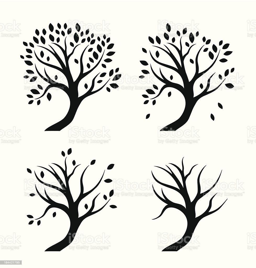 Vector isolated silhouettes of trees in seasons royalty-free stock vector art