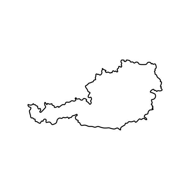 illustrazioni stock, clip art, cartoni animati e icone di tendenza di vector isolated simplified illustration icon with black line silhouette of austria - austria
