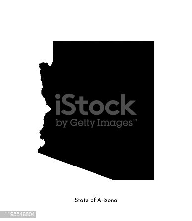 Vector isolated simplified illustration icon with black map's silhouette of State of Arizona (USA). White background