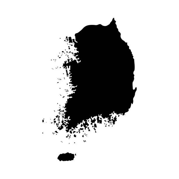 stockillustraties, clipart, cartoons en iconen met vector geïsoleerde vereenvoudigde illustratie pictogram met zwarte silhouet vasteland van zuid-korea - zuid korea