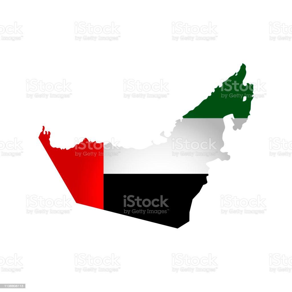 Vector izolowane uproszczoną ikonę ilustracji z sylwetką mapy Zjednoczonych Emiratów Arabskich. Flaga narodowa. - Grafika wektorowa royalty-free (Arabia)
