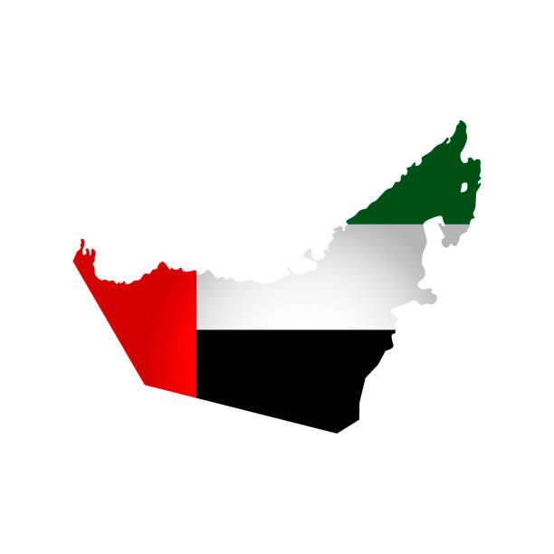 아랍 에미리트 지도의 실루엣으로 고립 된 단순화 된 그림 아이콘 벡터. 국기. - uae flag stock illustrations
