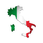 Vector isolated simplified illustration icon with silhouette of Italy map. National Italian flag (green, white, red colors). White background