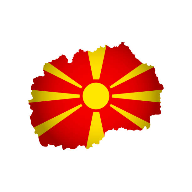 vector isolated simplified illustration icon with silhouette of macedonia map. national macedonian flag - macedonia country stock illustrations, clip art, cartoons, & icons