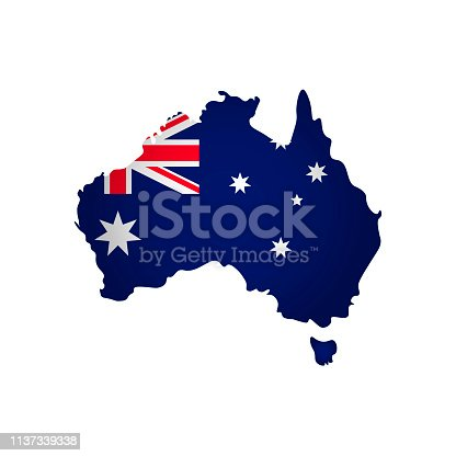 istock Vector isolated simplified illustration icon with silhouette of Australia map. National flag 1137339338