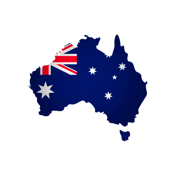 Vector isolated simplified illustration icon with silhouette of Australia map. National flag Vector isolated simplified illustration icon with silhouette of Australia map. National flag. White background australia stock illustrations