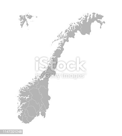 Vector isolated simplified illustration with silhouette of Norway, grey contours of regions. White outline and background