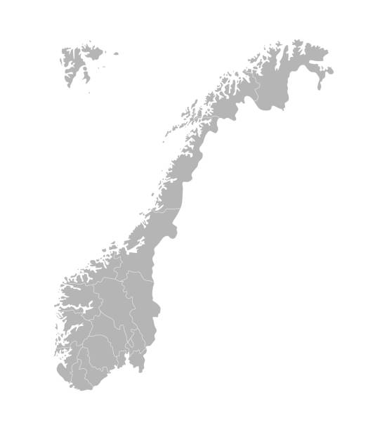 Vector isolated simplified illustration with silhouette of Norway, grey contours of regions. Vector isolated simplified illustration with silhouette of Norway, grey contours of regions. White outline and background norway stock illustrations