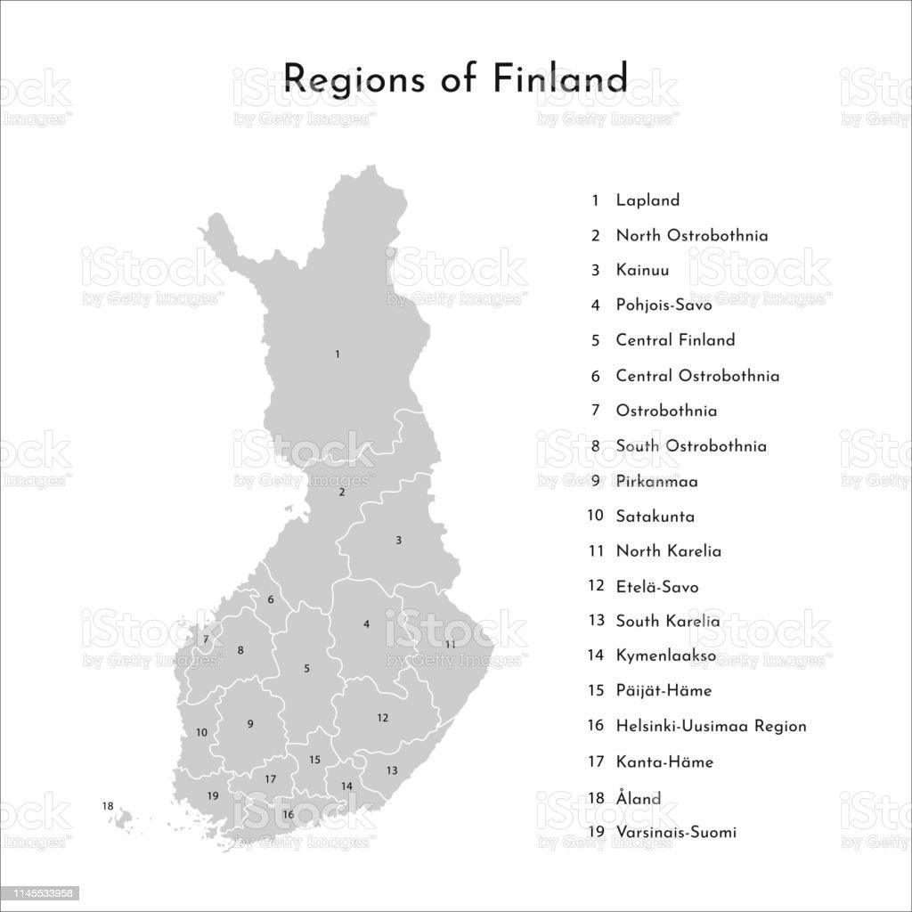 Finnland Karte Regionen.Vector Isolierte Die Vereinfachte Karte Der Finnischen