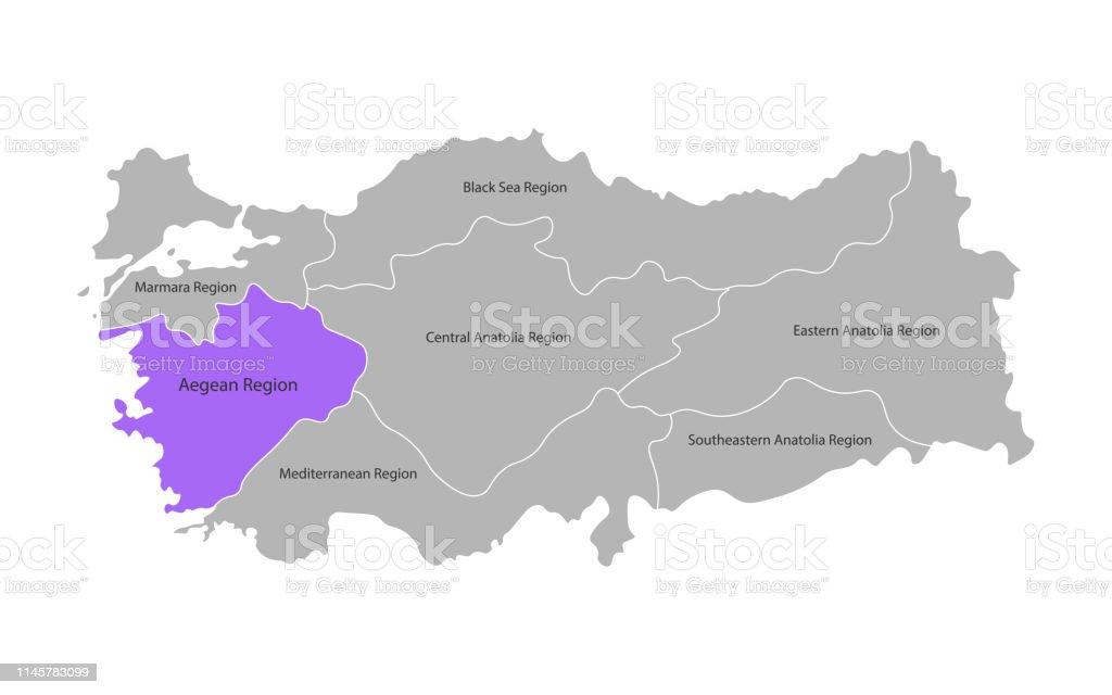 Türkische ägäis Karte.Vector Isolierte Vereinfachte Karte Der Türkeiregionen Markierte