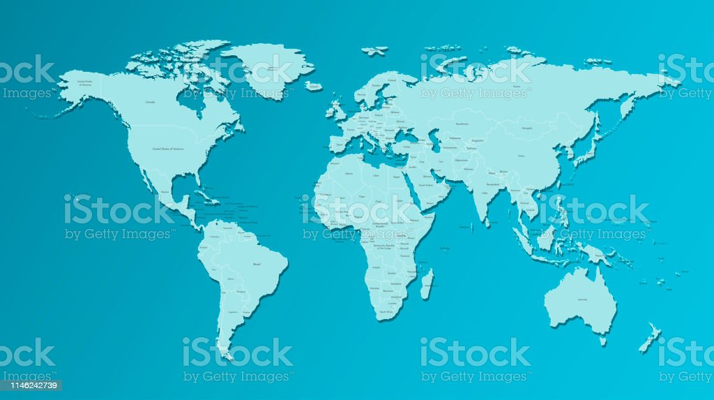 Vector Isolated Simplified World Map With States Borders And ... on blue world map vector, simple world map vector, black white world map vector, detailed world map vector,