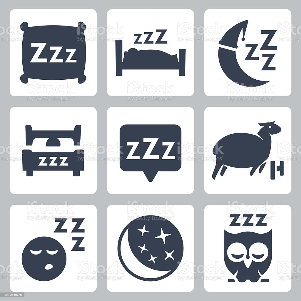 Vector isolated sleep concept icons set vector art illustration